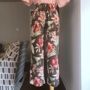 Vintage 90s Silk Hawaiian Print High Rise Pant